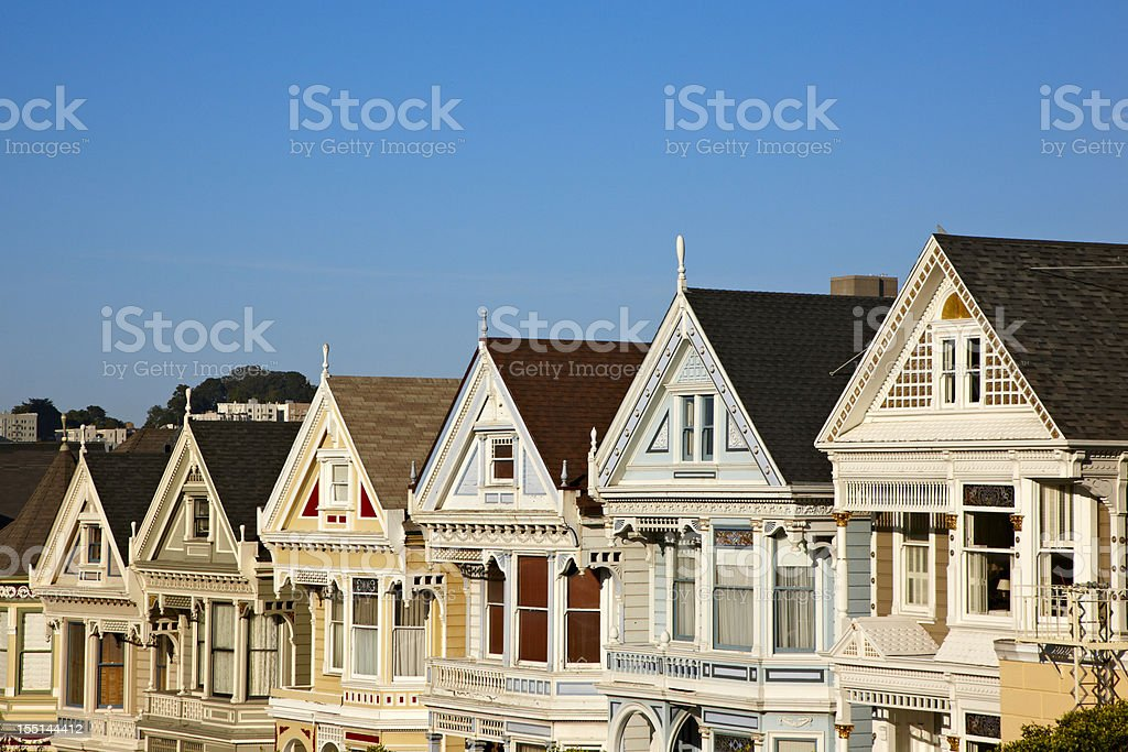 San Francisco Painted Ladies Homes, Victorian, Alamo Square royalty-free stock photo