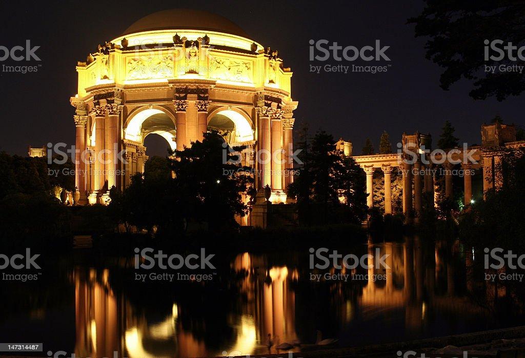San Francisco Palace of Fine Arts at night royalty-free stock photo