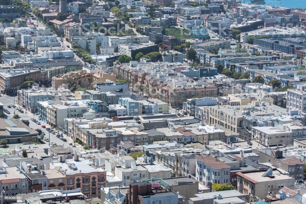 San Francisco, panorama of North Beach - Royalty-free Aerial View Stock Photo