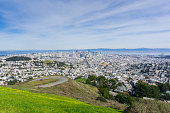 San Francisco panoramic view towards the financial district and downtown; wildflowers and winding road in the foreground, California