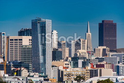 Skyline view of San Francisco, seen from Dolores Park in the Mission District.