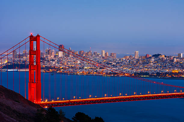 San Francisco San Francisco and Golden Gate Bridge at night golden gate bridge stock pictures, royalty-free photos & images