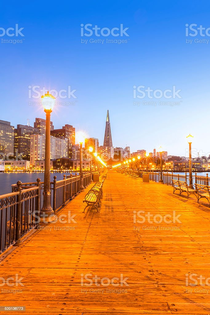 San Francisco Pier 7 sunset in California stock photo