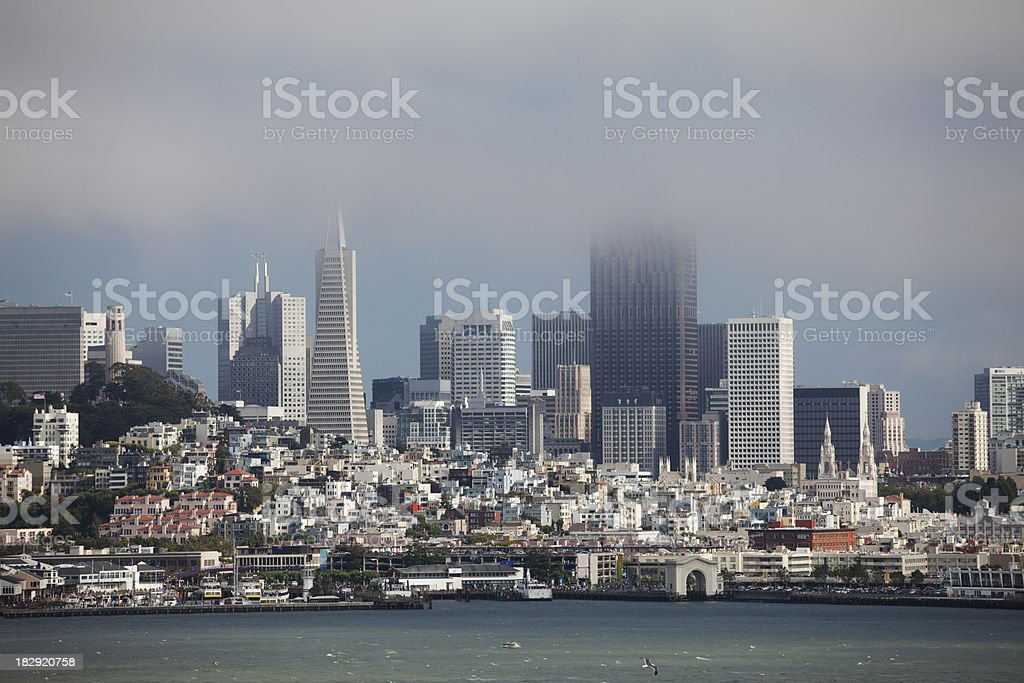 San Francisco shrouded in clouds royalty-free stock photo
