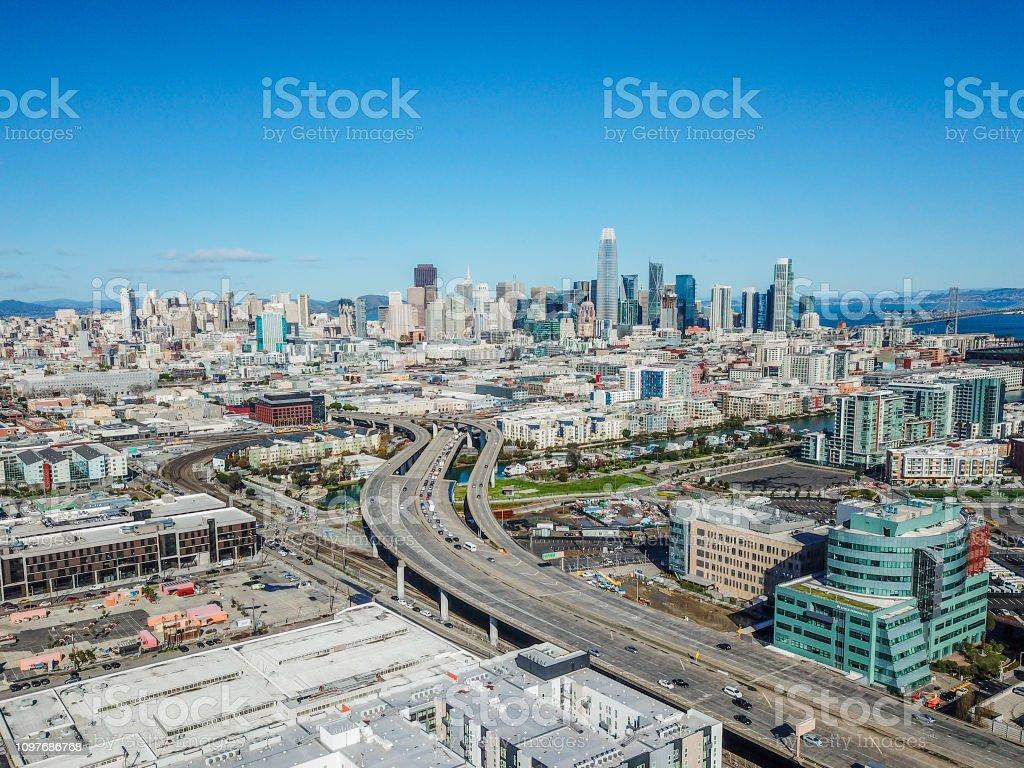 San Francisco Skyline Above the 280 Freeway stock photo