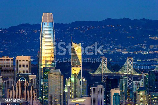 San Francisco downtown looking from above panoprama