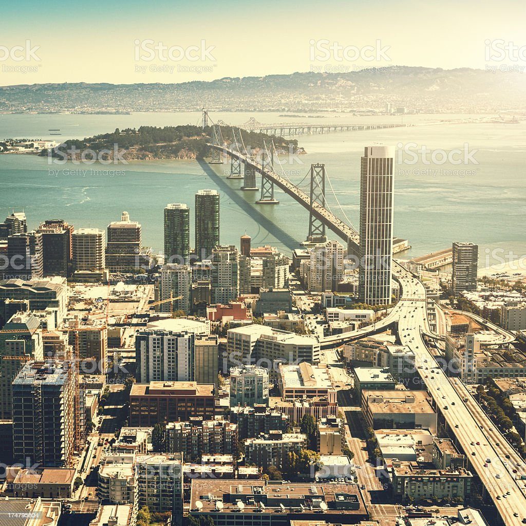 San francisco skyline aerial view with bay bridge in background royalty-free stock photo