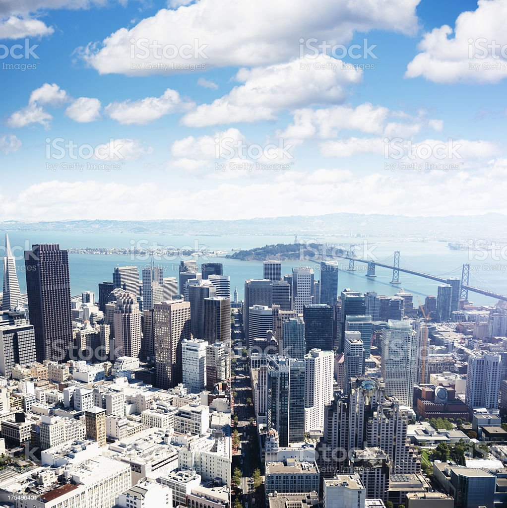 San francisco skyline aerial view with bay bridge on background royalty-free stock photo