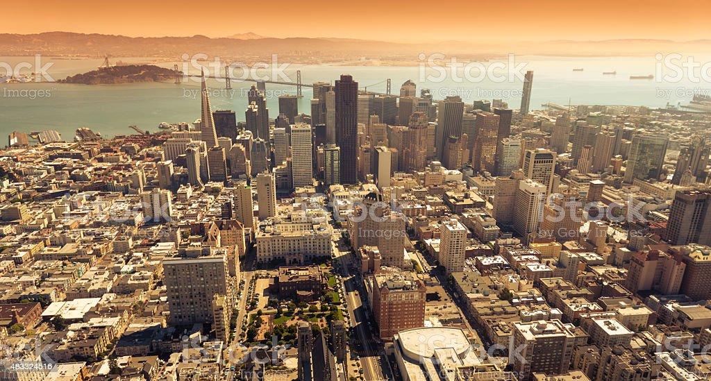 San francisco skyline aerial view with bay bridge on background stock photo