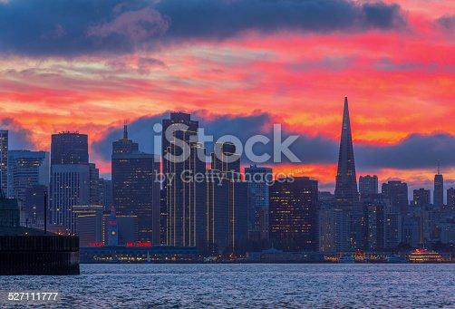 San Francisco skyline and Bay Bridge at sunset, California, Canon 6D ISO 100, Adobe RGB.