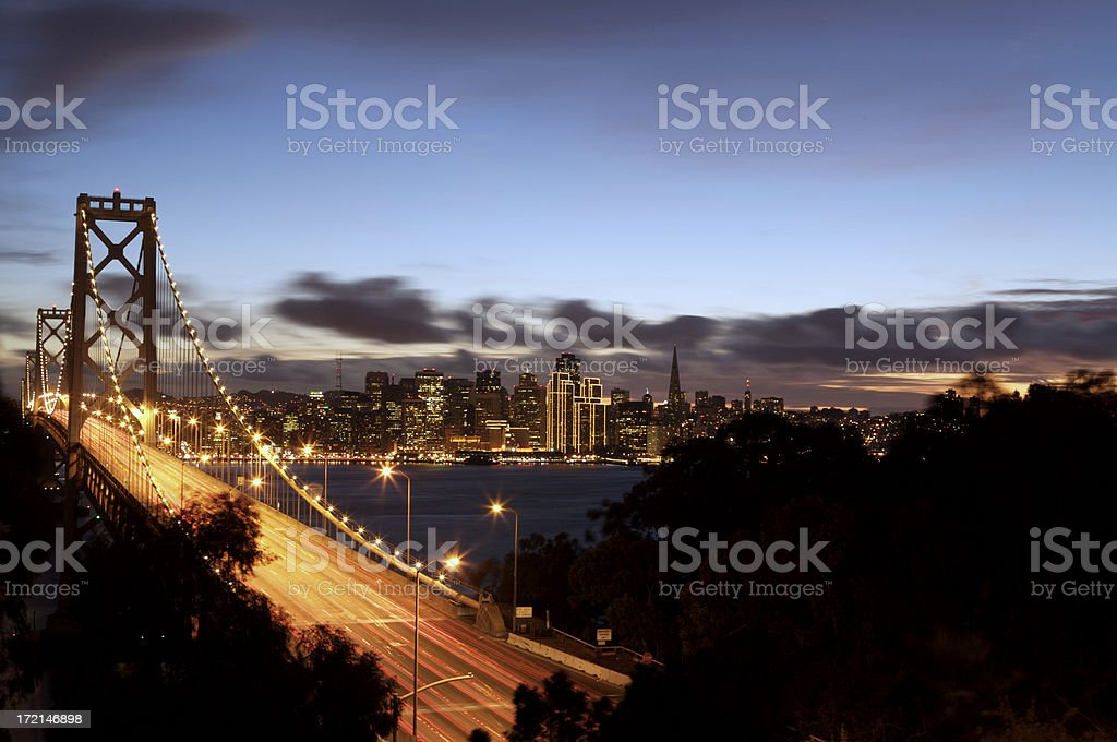 San Francisco Skyline and Bay Bridge royalty-free stock photo
