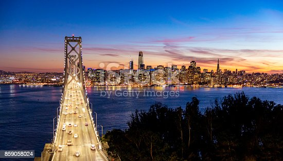 Looking from Treasure Island towards San Francisco with the Bay Bridge in the foreground
