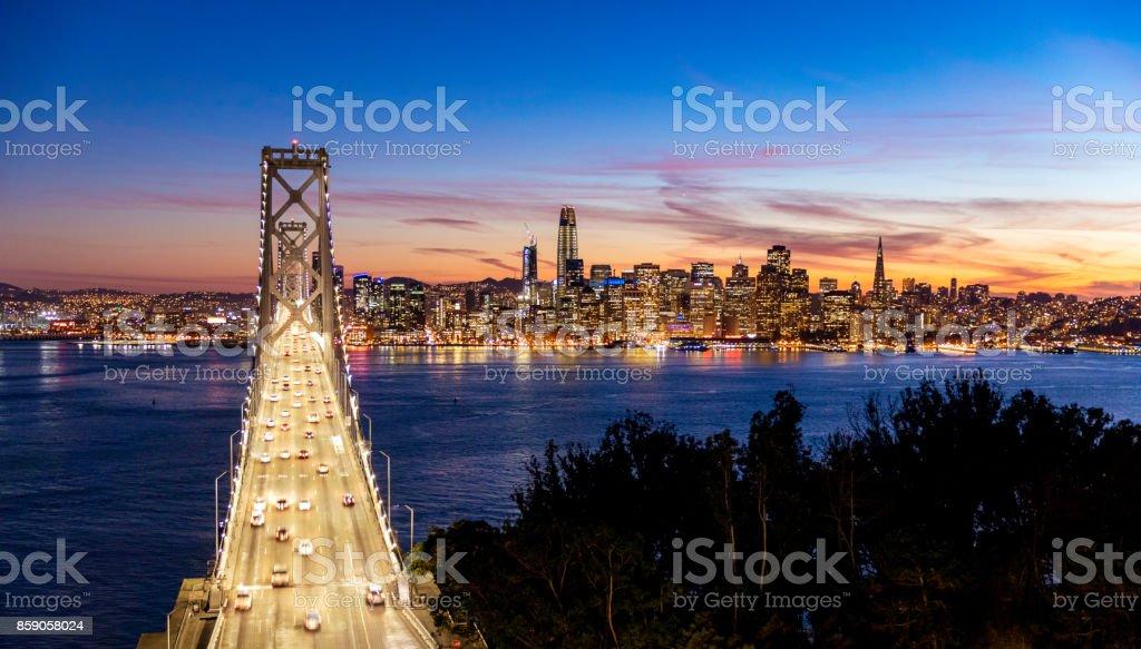 San Francisco Skyline and Bay Bridge stock photo