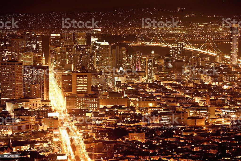 San Francisco skyline at night royalty-free stock photo