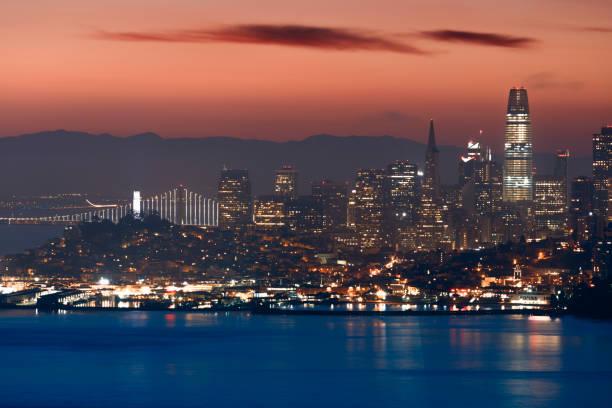 San Francisco Skyline at Sunrise Urban Skyline, City, Chain, Famous Place, International Landmark san francisco bay stock pictures, royalty-free photos & images