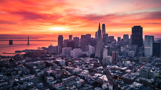 San Francisco Skyline at Sunrise stock photo