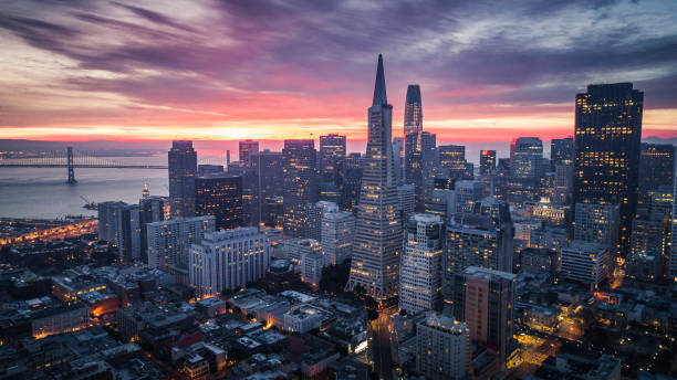 san francisco skyline at sunrise - financial district stock pictures, royalty-free photos & images