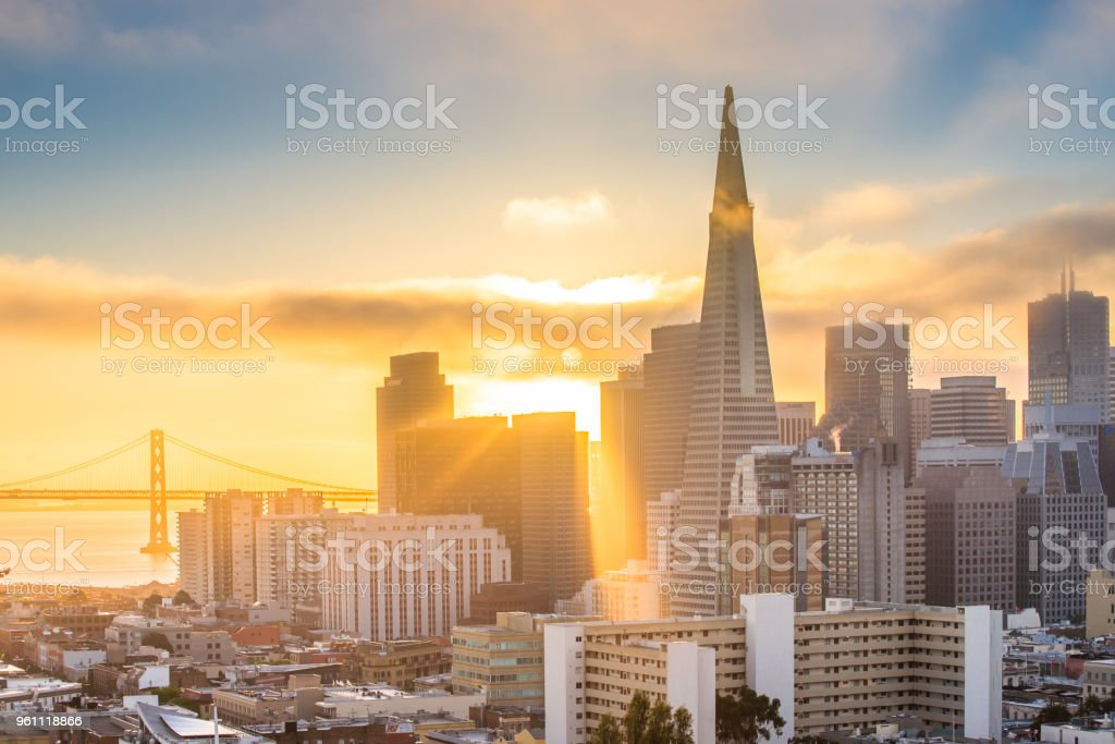 San Francisco Skyline at Sunrise stock photo