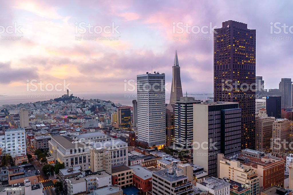 San Francisco skyline  at sunset at dusk stock photo