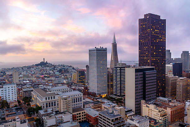 San Francisco skyline  at sunset at dusk stock photo