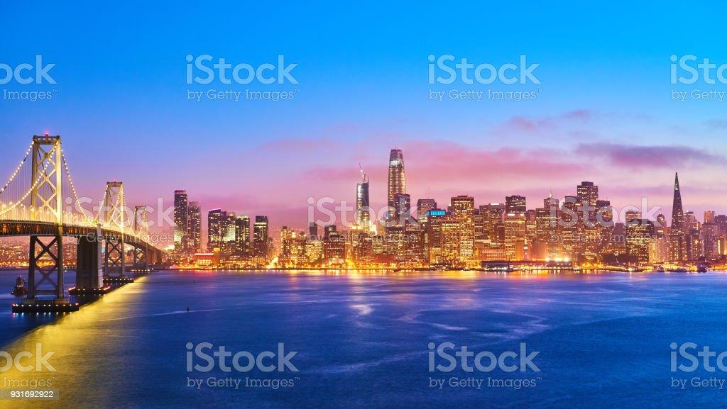 San Francisco Skyline at Sunset, California, USA stock photo