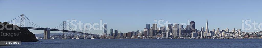 San Francisco skyline, Bay Bridge, Transamerica Pyramid 167 megapixel panorama stock photo