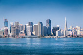 Classic panoramic view of San Francisco skyline on a beautiful sunny day with blue sky in summer, San Francisco Bay Area, California, USA