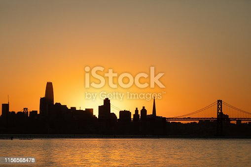 San Francisco city skyline silhouette photographed from the Port of Oakland across the bay with the orange sky and sunset behind the city