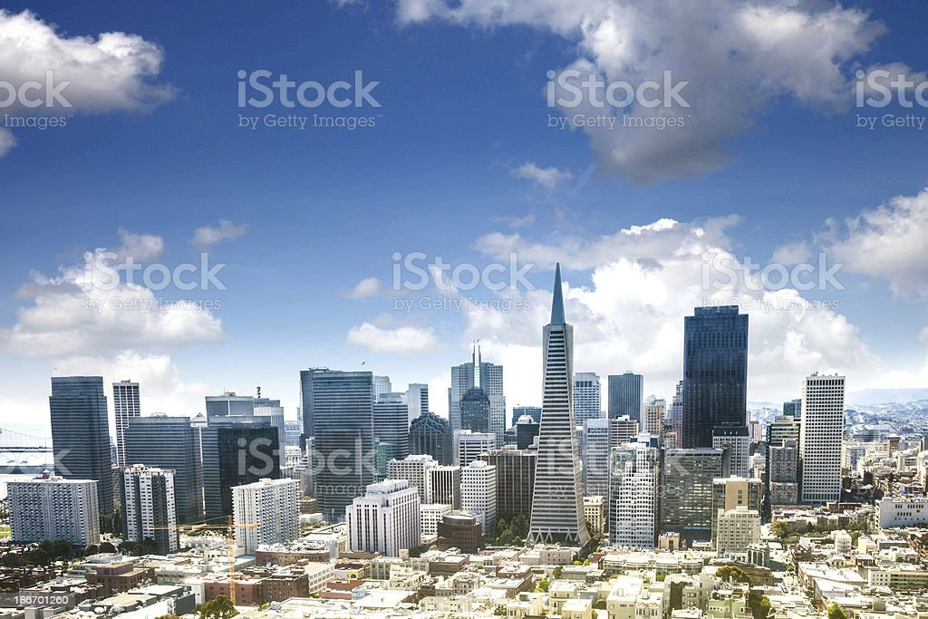 San Francisco skyline during a sunny day stock photo