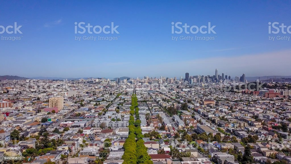 San Francisco skyline from Bernal Heights stock photo