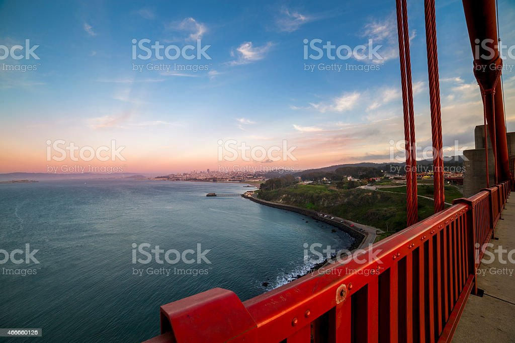 San Francisco Skyline from Golden Gate Bridge stock photo