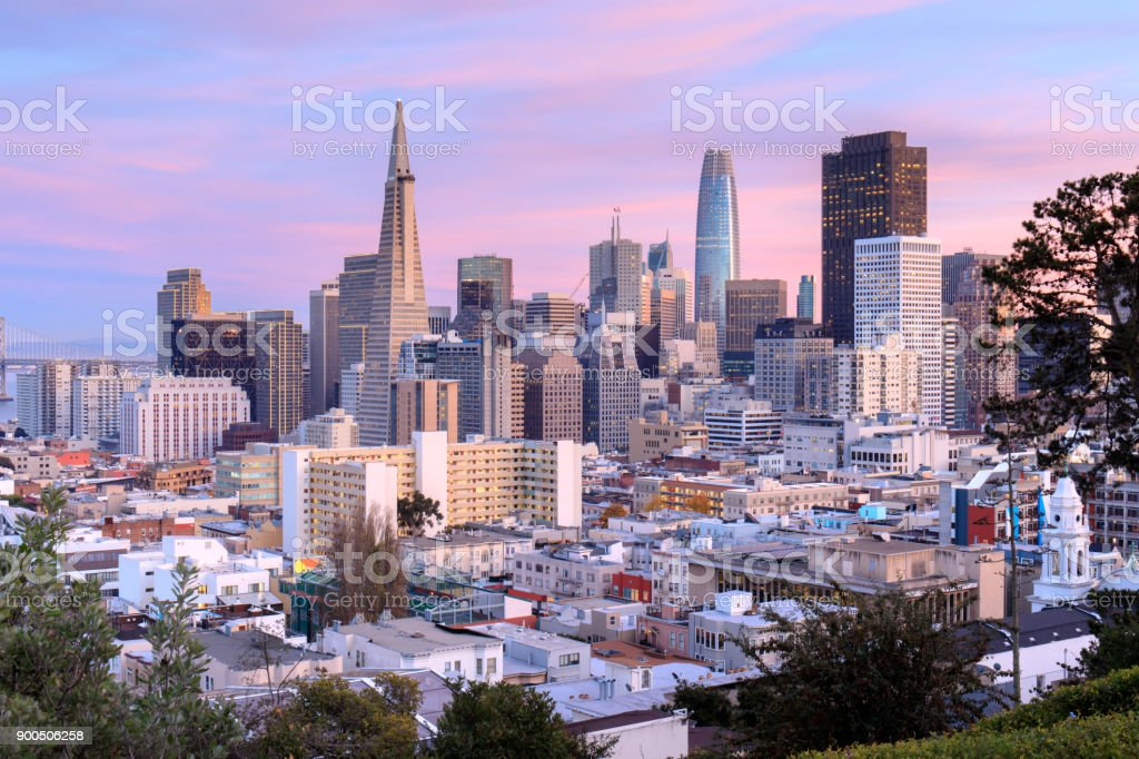 San Francisco Skyline in Pink and Blue Skies stock photo