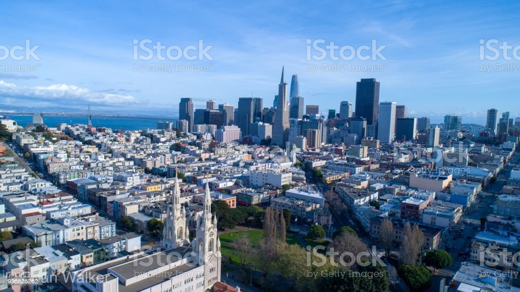San Francisco Skyline overlooking the bay bridge. stock photo