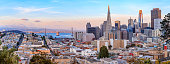 San Francisco city skyline panorama at sunset with downtown skyline and