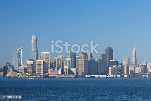 Day time view of the skyline of San Francisco as seen from across the bay.