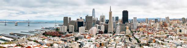 San Francisco Skyline Panoramic view of San Francisco Skyline san francisco bay stock pictures, royalty-free photos & images