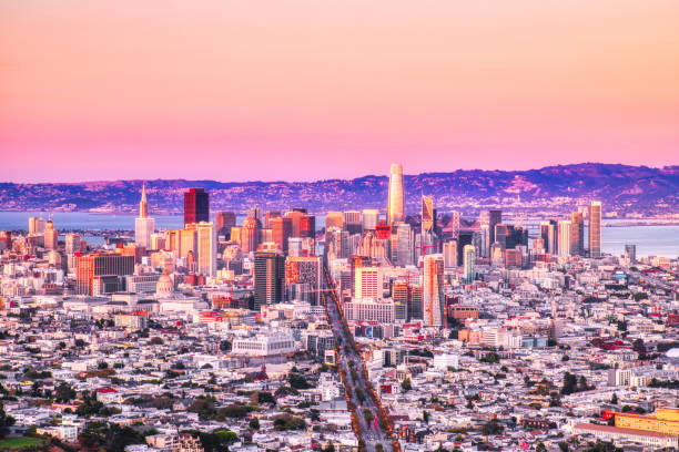San Francisco Skyline View from Twin Peaks with Vivid Warm Sky Colors, California, USA stock photo
