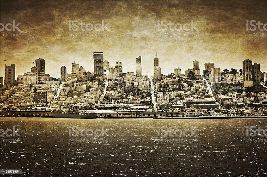 San Francisco skyline viewed from Alcatraz, vintage look stock photo