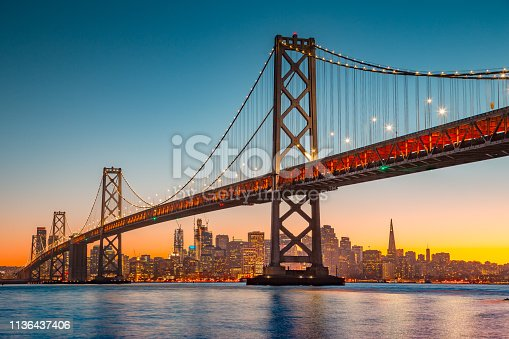 istock San Francisco skyline with Oakland Bay Bridge at sunset, California, USA 1136437406