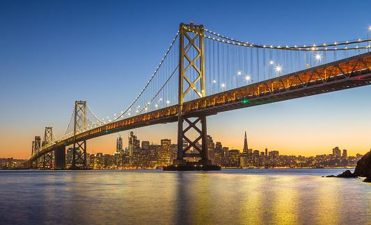 San Francisco skyline with Oakland Bay Bridge in twilight, California, USA