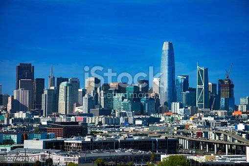 Downtown San Francisco skyline view from the south, featuring the new Salesforce Tower (tallest one), and with Highway 101 in the foreground.