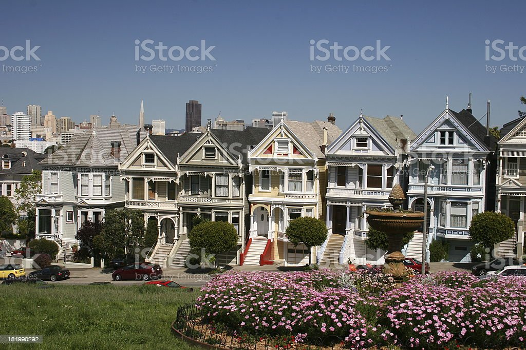 San Francisco skyline with victorian house royalty-free stock photo