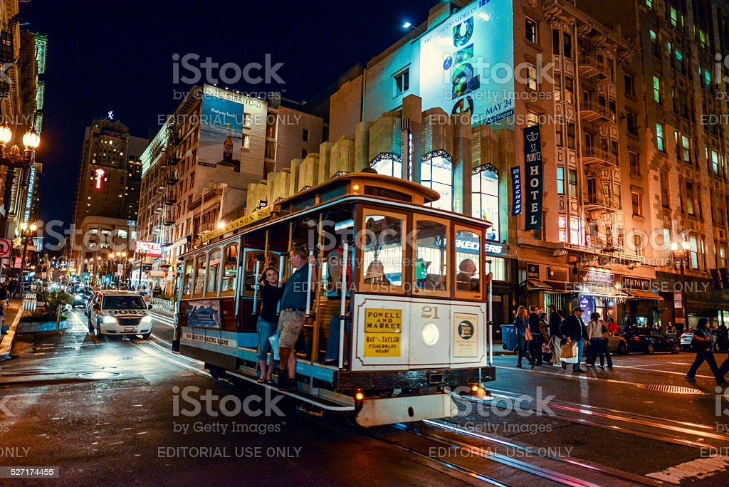 San Francisco street and famous cable car with tourists stock photo