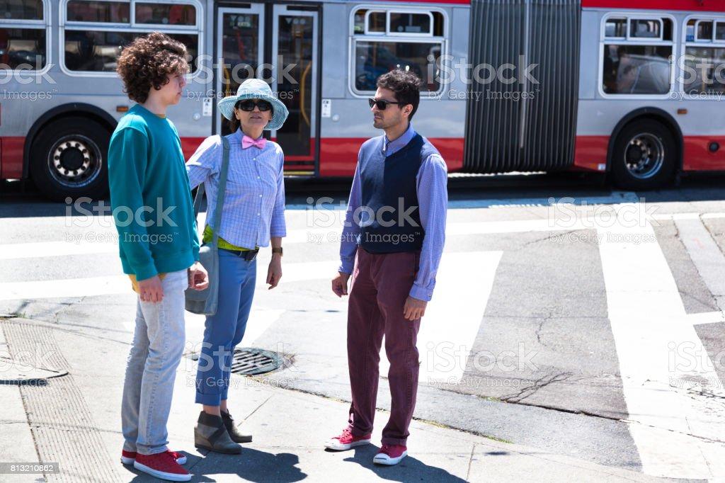 San Francisco Street Life at crosswalk stock photo
