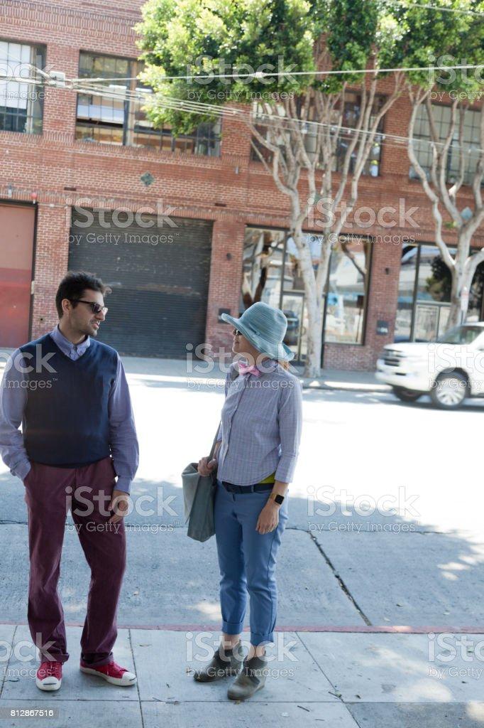 San Francisco Street Life chat in shade stock photo