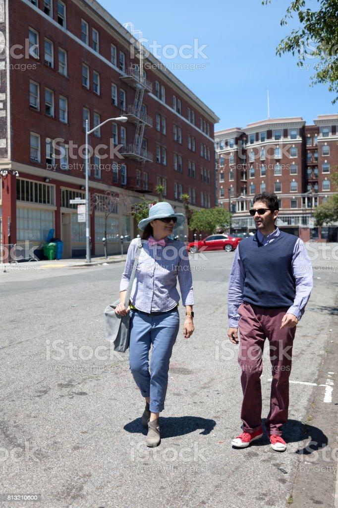 San Francisco Street Life chat walk stock photo