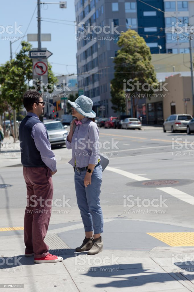 San Francisco Street Life corner talk stock photo