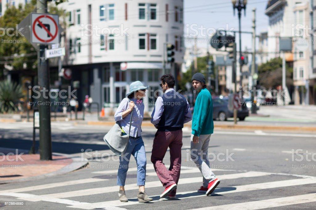 San Francisco Street Life crosswalk meet stock photo