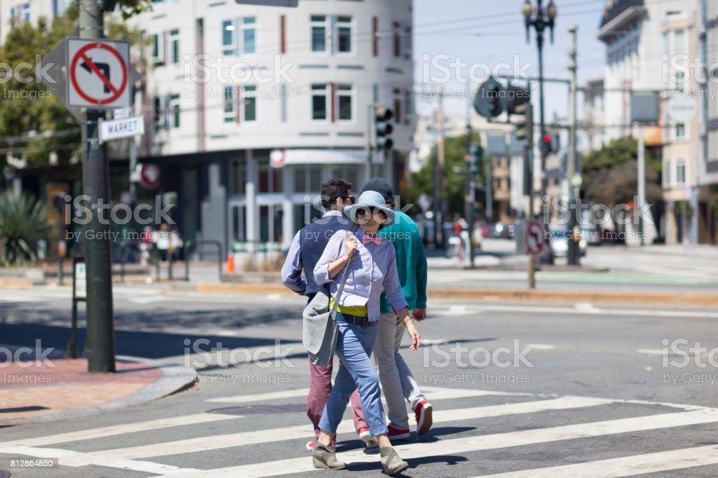 San Francisco Street Life crosswalk stock photo