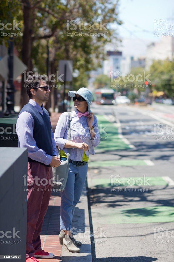 San Francisco Street Life sidewalk talk stock photo